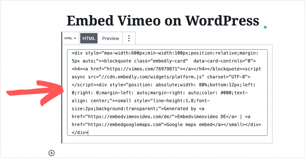 13 paste the vimeo embed code